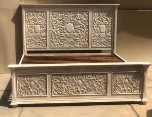 White Wash Carved Bed  simple lucky-furniture-handicrafts