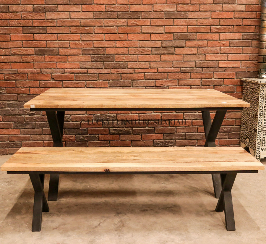 Mango Wood Table with X Metal Legs  simple lucky-furniture-handicrafts