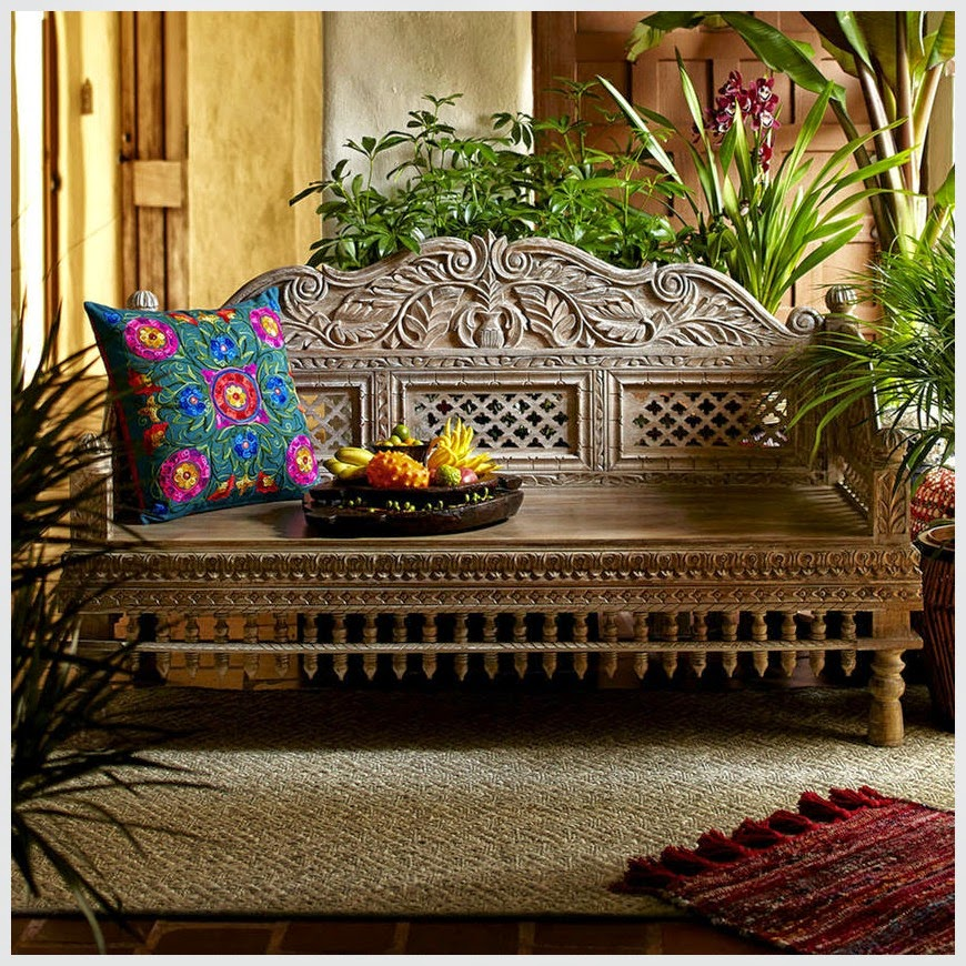 Lattoo Carved Bench  simple lucky-furniture-handicrafts.