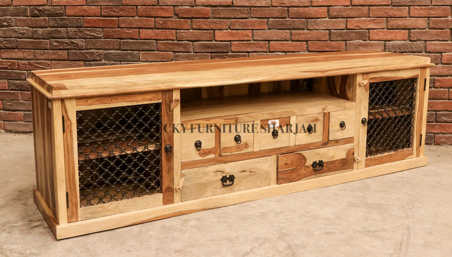 Indian Rosewood Tv Stand with Grills  simple lucky-furniture-handicrafts.