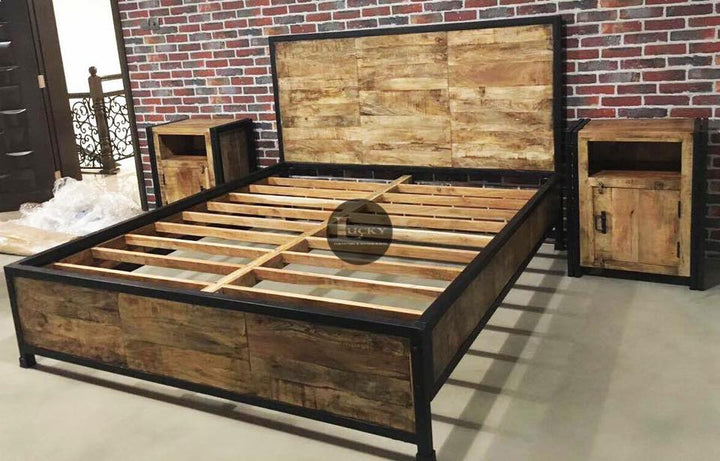 Mango Wood & Metal Bed  simple lucky-furniture-handicrafts