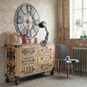 Industrial 6 Draw Chest on Wheels  simple lucky-furniture-handicrafts.