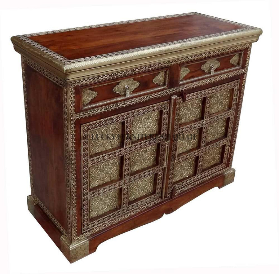 Brass Inlay 2 Draw Sideboard  simple lucky-furniture-handicrafts.