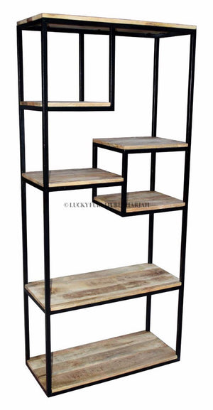 Staggered Metal and Wood Shelf  simple lucky-furniture-handicrafts.