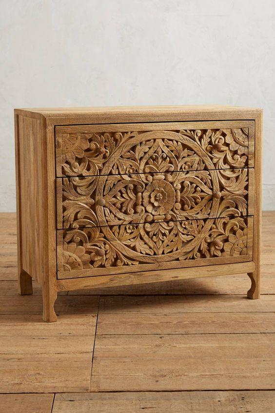 Carved Drawchest  simple lucky-furniture-handicrafts.