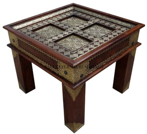 Brass Flower Panel Sidetable  grouped lucky-furniture-handicrafts