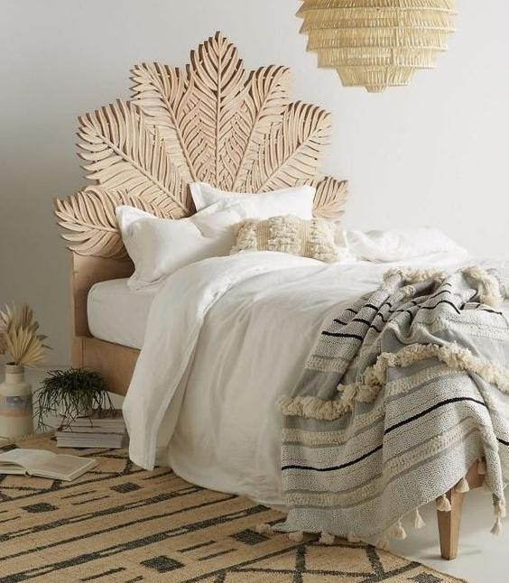 Carved Palm Inspired Bed  simple lucky-furniture-handicrafts