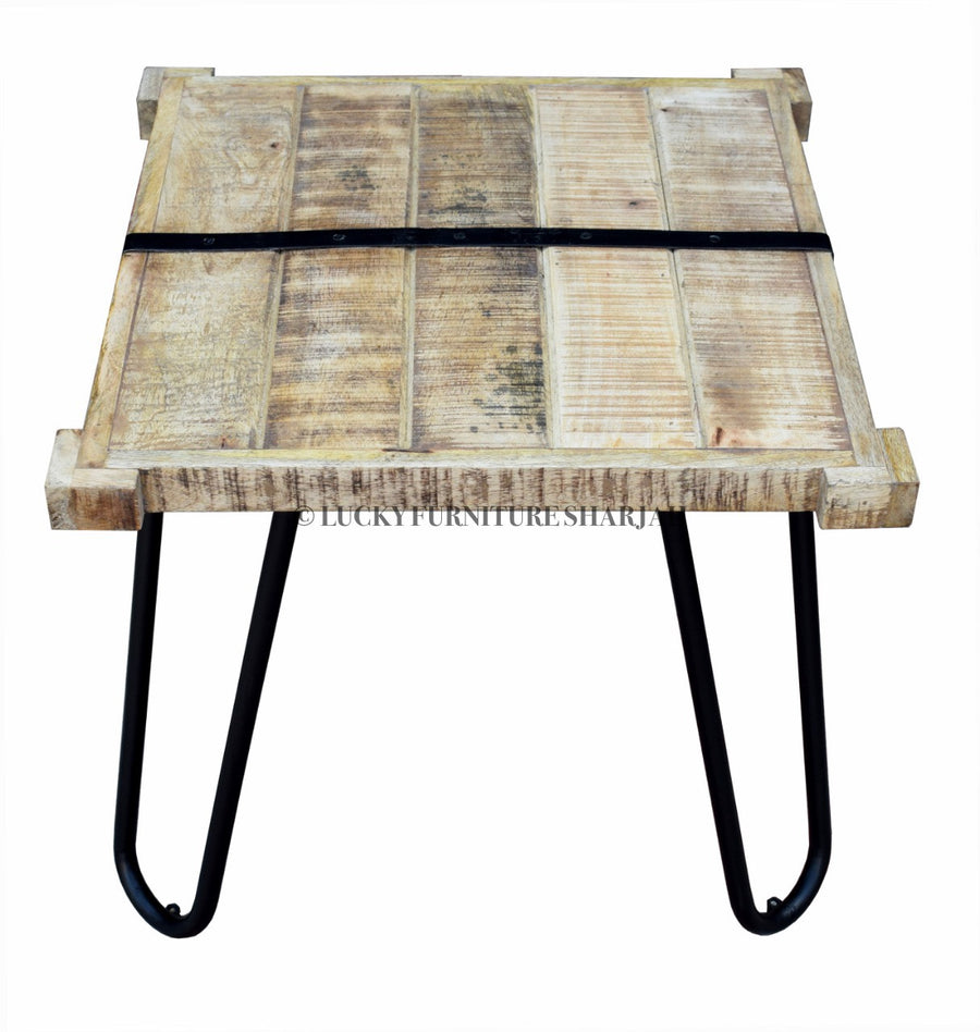 Mango Wood Industrial Side Table with hair pin legs  simple lucky-furniture-handicrafts.