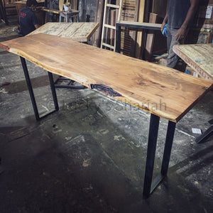 Acacia live edge console table U shape Base   lucky-furniture-handicrafts.