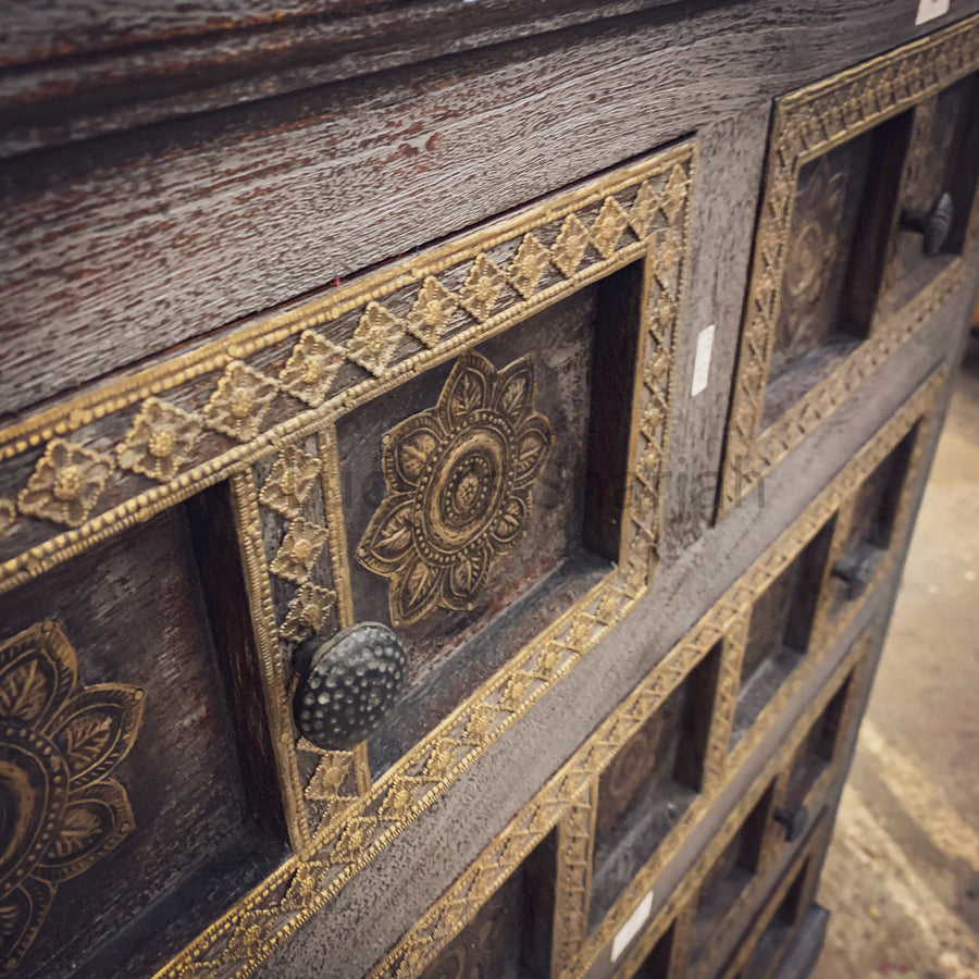 Grey Wash and Brass Inlay Drawchest   lucky-furniture-handicrafts.