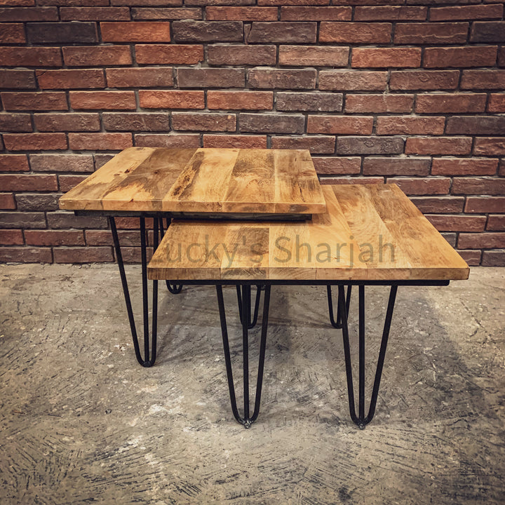 Adjustable Mango wood table Nesting   lucky-furniture-handicrafts.