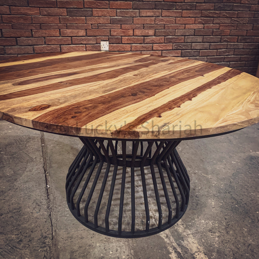 Rosewood Round Dining table with KLOUVI Base   lucky-furniture-handicrafts.
