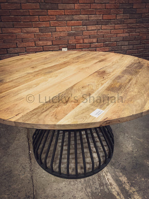 Mango wood Dining table with KLOUVI Base   lucky-furniture-handicrafts.