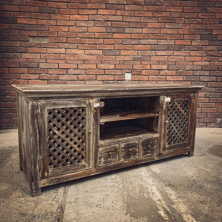 Rustic Chic Lattice detailed tv stand   lucky-furniture-handicrafts.