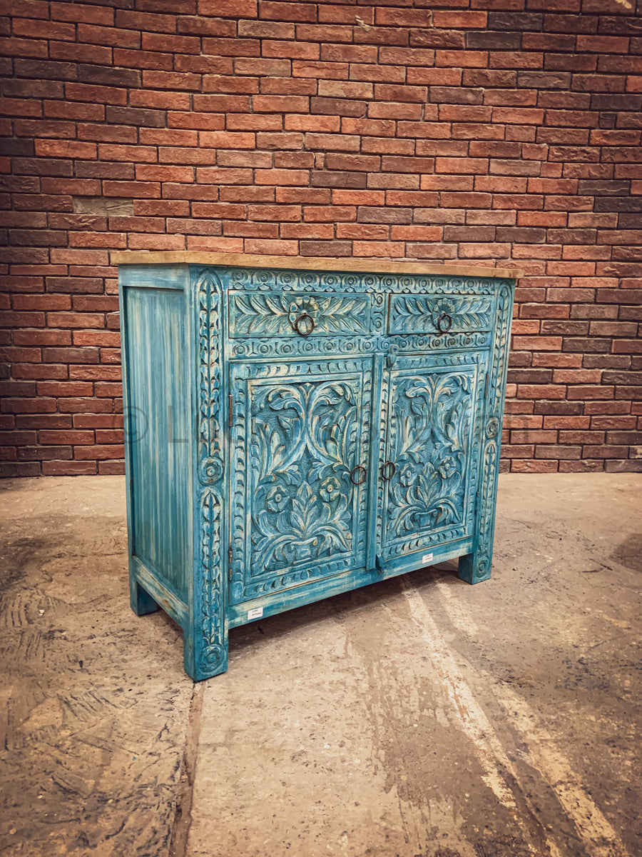 Sky Blue Carved Two Tone Sideboard   lucky-furniture-handicrafts.