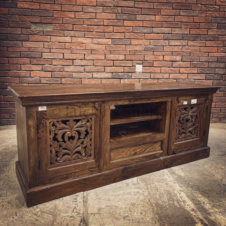 Carved design tv stand   lucky-furniture-handicrafts.
