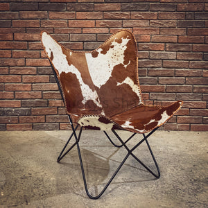 Brown and White Leather Butterfly Chair   lucky-furniture-handicrafts.