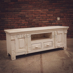 Victorian Vintage White tv stand   lucky-furniture-handicrafts.