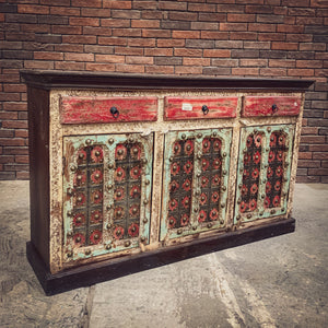 Multicolor Gujarati Brass inlay sideboard   lucky-furniture-handicrafts.