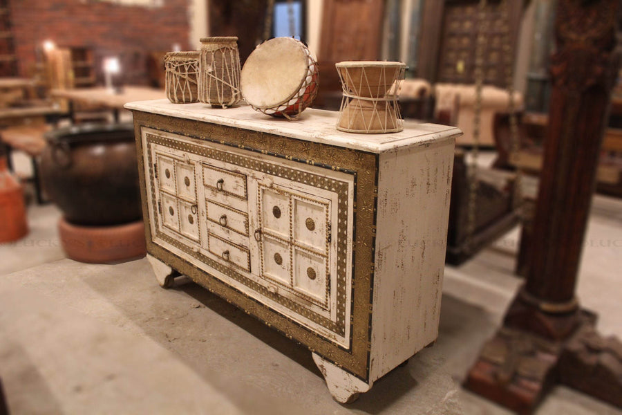 Distressed Brass Sideboard on Wheels  simple lucky-furniture-handicrafts.