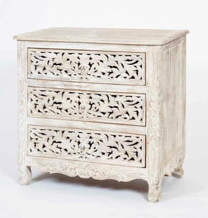 Carved 3 Draw Chest of Drawers  simple lucky-furniture-handicrafts.