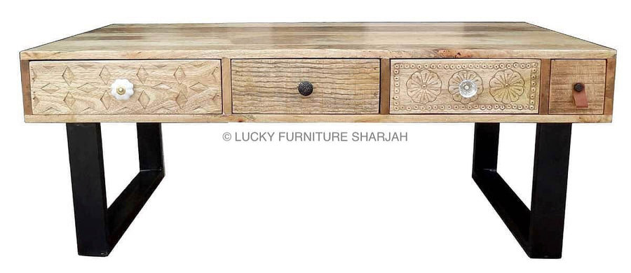 Carved 4 Draw Coffee Table & Metal Legs  simple lucky-furniture-handicrafts.