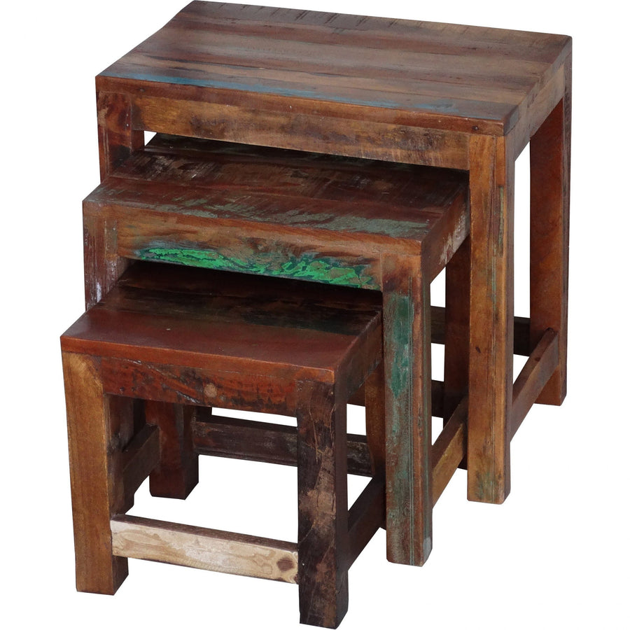 Reclaimed Wood Nesting Table  simple lucky-furniture-handicrafts.