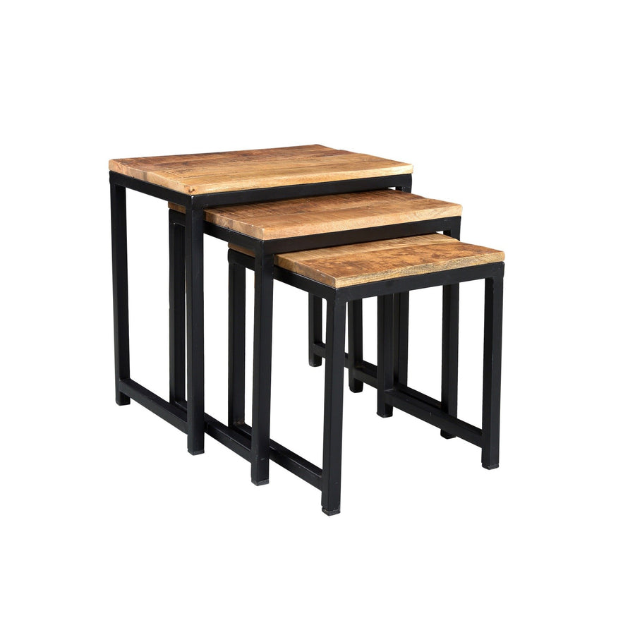 Metal & Wood Nesting Table  simple lucky-furniture-handicrafts.