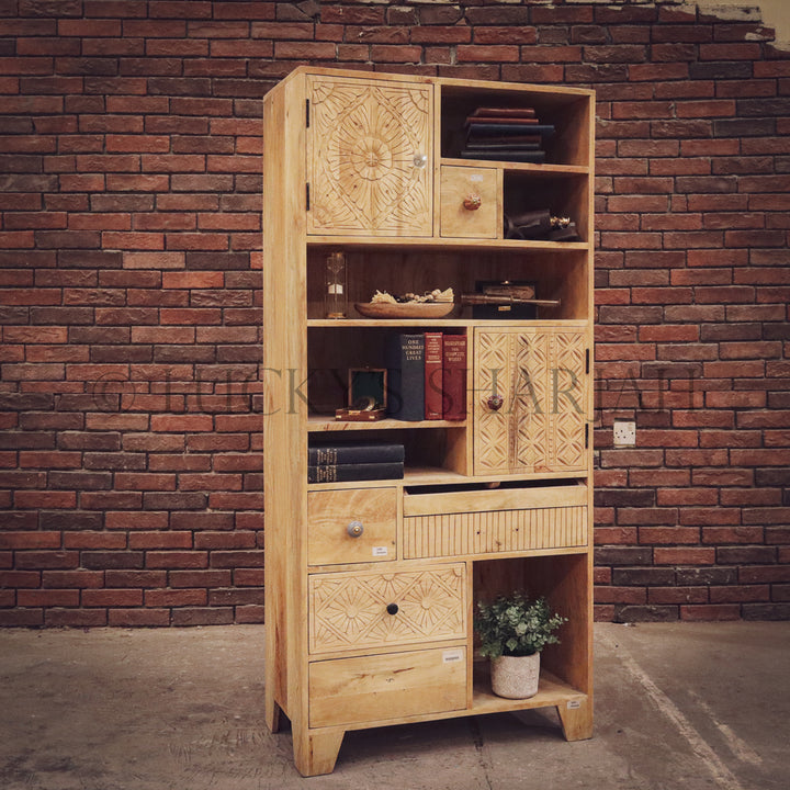 Staggered mango wood bookshelf cabinet   lucky-furniture-handicrafts.