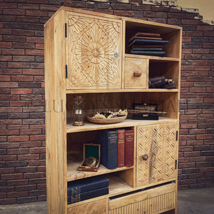 Staggered mango wood bookshelf cabinet