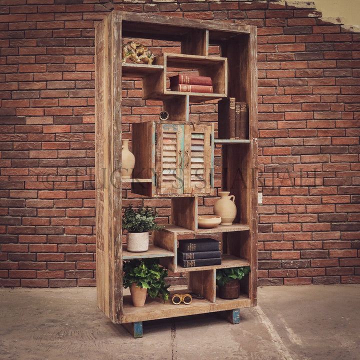 Recycle design bookshelf cabinet staggered   lucky-furniture-handicrafts.