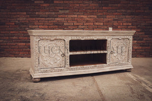 Intricate carved 2 door tv stand