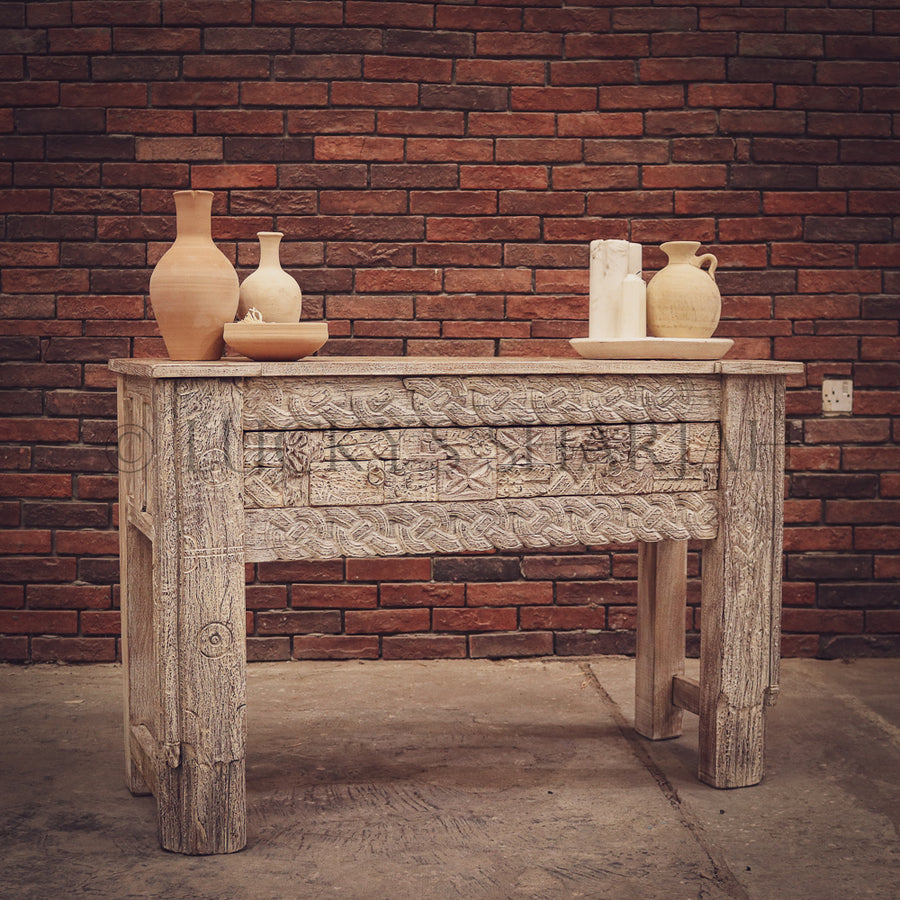 Hand craved 2 draw console Boho   lucky-furniture-handicrafts.