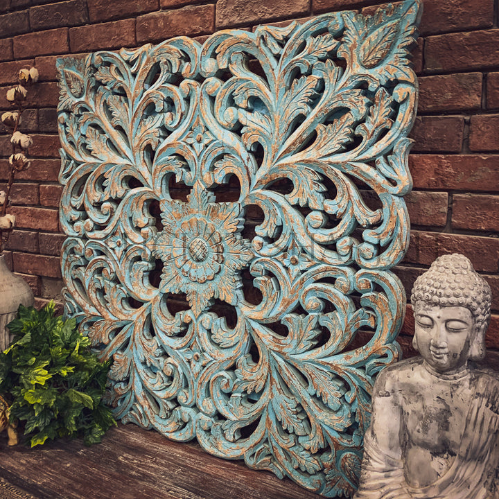 Blue wash carved panel   lucky-furniture-handicrafts.