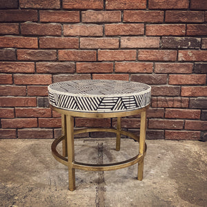 Stripe and brass finish side table
