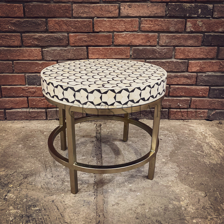 Honeycomb and gold finish side table Black   lucky-furniture-handicrafts.