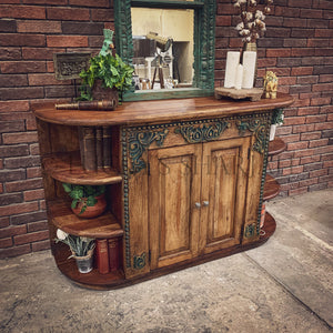 Carved Sideboard with round open shelf   lucky-furniture-handicrafts.