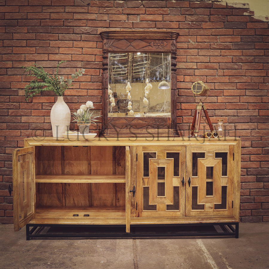 Sectional Geometric Mango wood and metal sideboard   lucky-furniture-handicrafts.
