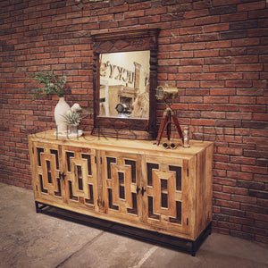 Sectional Geometric Mango wood and metal sideboard