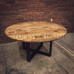 Round X Mango wood table   lucky-furniture-handicrafts