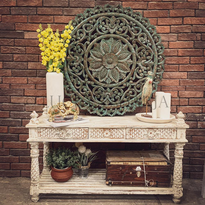 Whitewash Console   lucky-furniture-handicrafts