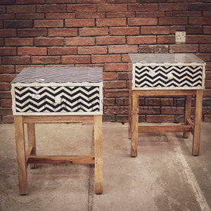 Stripe Bone inaly and wood sidetable   lucky-furniture-handicrafts.