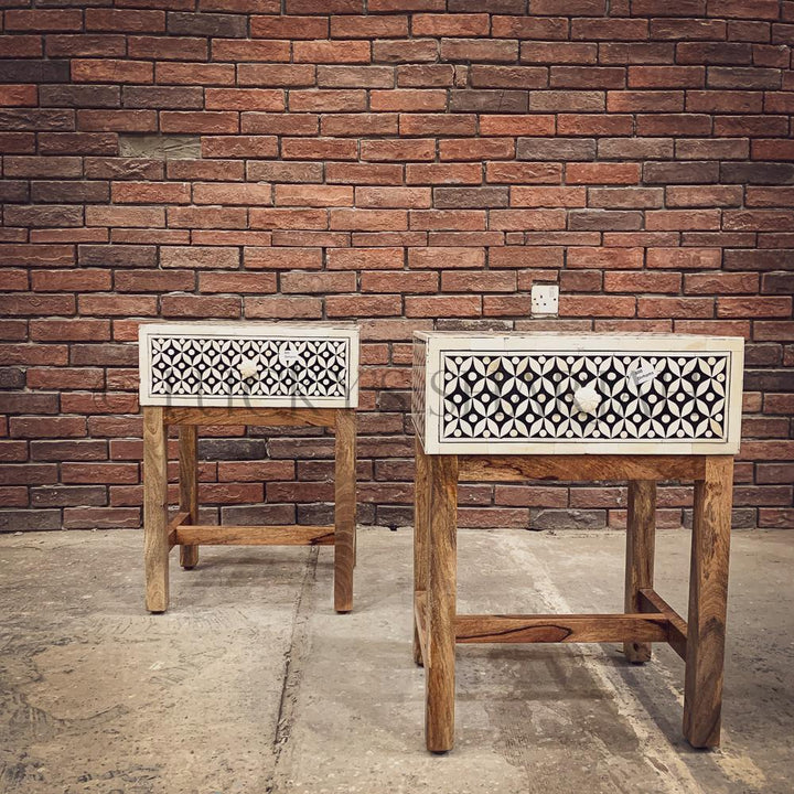 Geometric Bone inaly and wood sidetable   lucky-furniture-handicrafts.