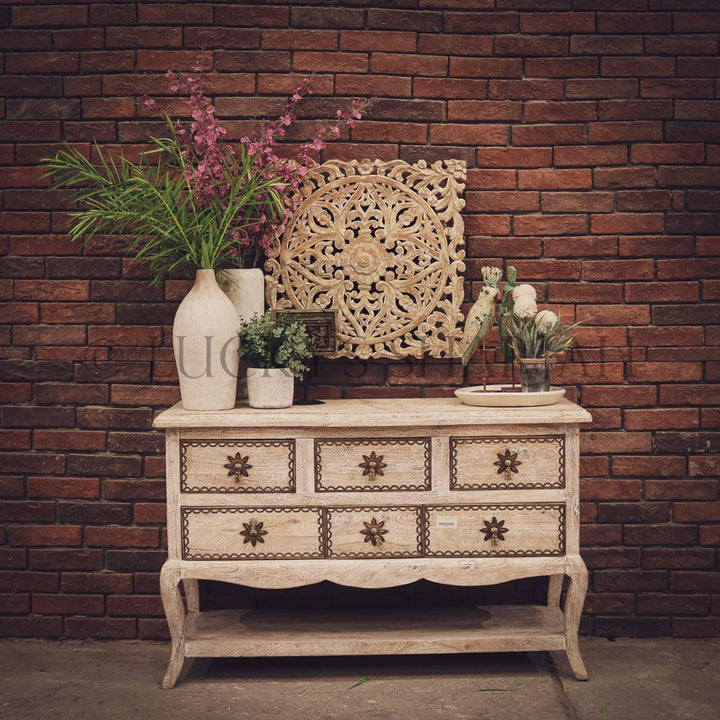 Brass inlay shabby chic drawchest   lucky-furniture-handicrafts