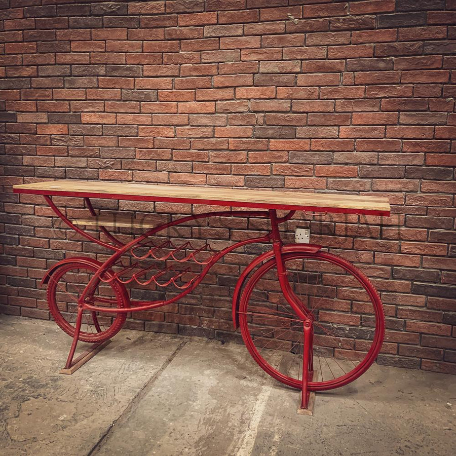 Vibrant Red Industrial cycle bar console   lucky-furniture-handicrafts.