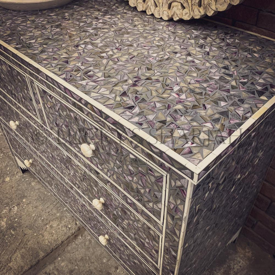 Bone Inlay Mosaic design Drawchest   lucky-furniture-handicrafts.