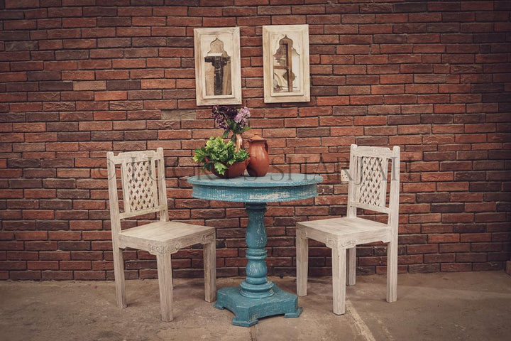 Vibrant Blue Round Table and Assorted Chair   lucky-furniture-handicrafts.
