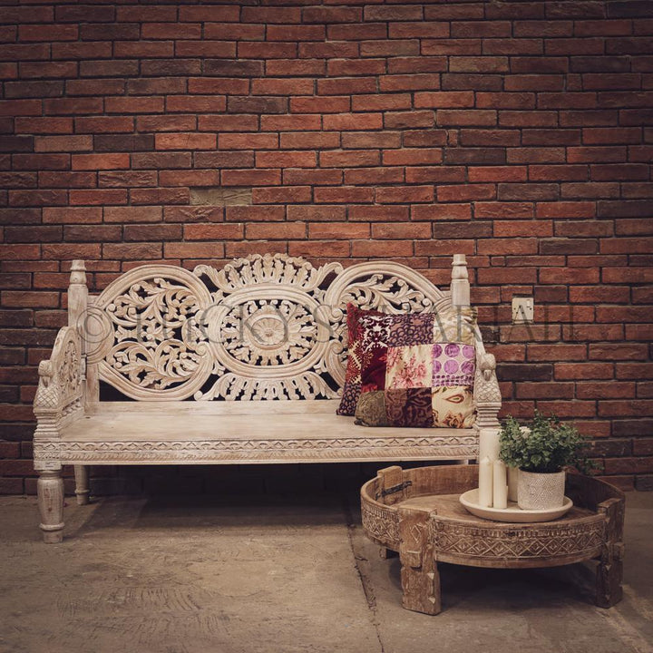 Handcarved bench WHITE   lucky-furniture-handicrafts