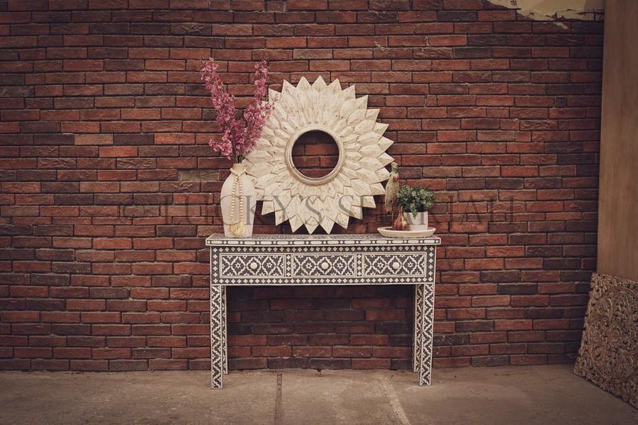 Grey and white bone inlay console   lucky-furniture-handicrafts