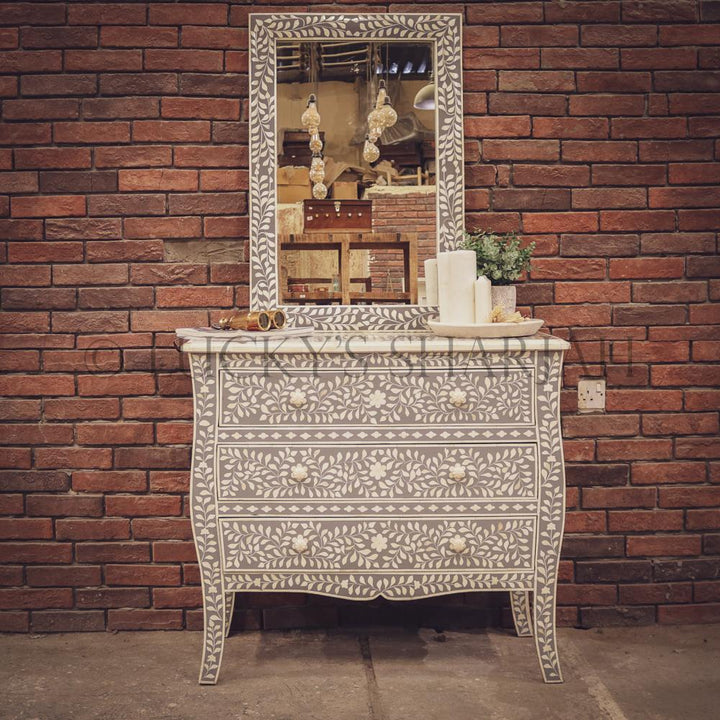 Grey and white bone inlay drawchest and mirror FLORAL   lucky-furniture-handicrafts